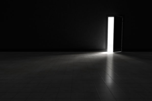 Open door to dark room with bright light shining in. Background Illustration.